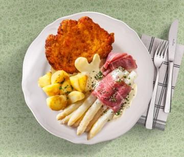 Frühlings-Tisch, Schnitzel und Spargel, Rövershagen