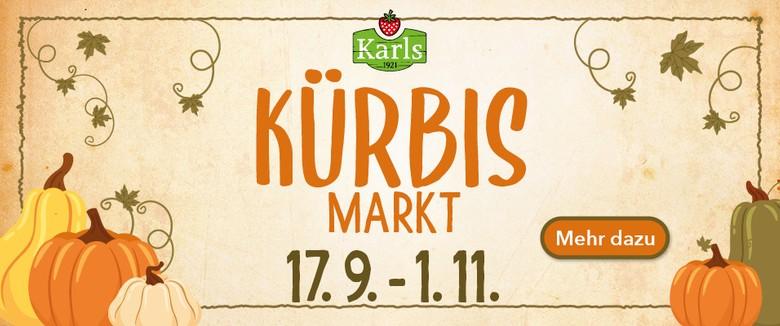 Kürbis-Markt Werbeslider für mehr Informationen zur Kürbiszeit bei Karls